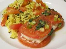 Schellfisch im Tomatenbett mit Reis - Rezept