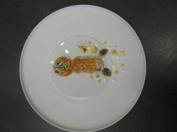 Gebratener Langostino an Blumenkohl-Couscous und Papaya Chutney - Rezept