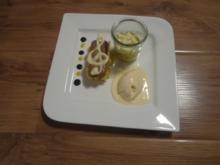 Pattaya-Mango und Giandujacreme auf Kokos-Cookie mit Ivoire-Praliné-Eis - Rezept