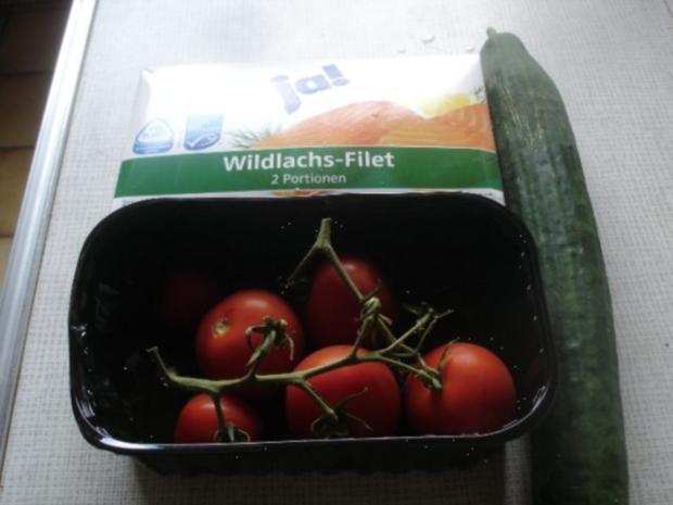 Wildlachs-Filet mit Tomaten-Gurken Salat - Rezept - Bild Nr. 2