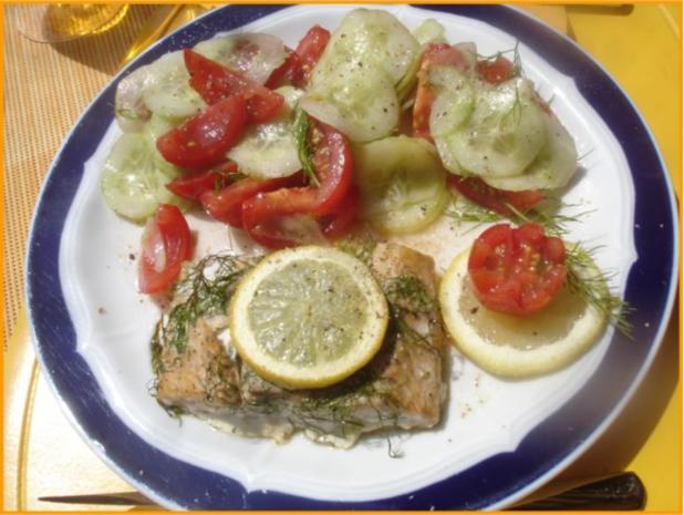 Wildlachs-Filet mit Tomaten-Gurken Salat - Rezept - Bild Nr. 6