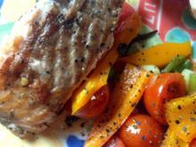 Lachsfilet mit warmen Tomaten-Paprika-Salat - Rezept