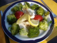 Seelachsfilet mit Brokkoli gedünstet - Rezept