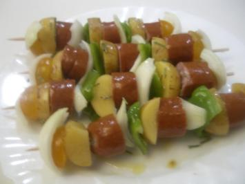 Bockwurst-Kartoffel-Schaschlik - Rezept