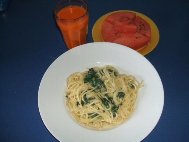 Spagetti mit Blattspinat-Kesesauce - Rezept