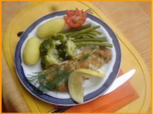 Alaska Seelachsfilet mit Brokkoli, grünen Bohnen und Drillingen - Rezept