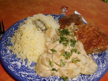 Schmorgurken in Senfsahne mit Knusperfisch>> - Rezept