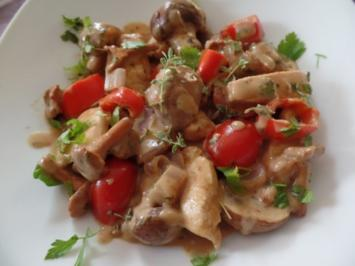 Hähnchengeschnetzeltes mit Pilzen - Rezept