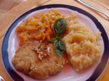 Hähnchenbrustfiletschnitzel mit pikanten Kartoffelstampf und Möhrenblütengemüse - Rezept