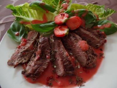 Steak mit Erdbeer-Sauce - Rezept