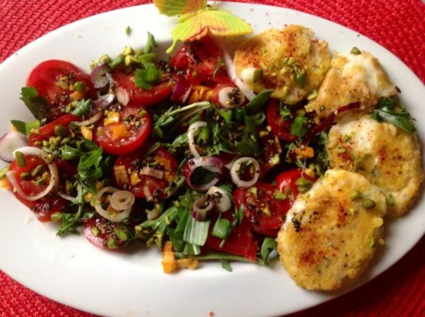 tomaten rucola salat mit salzorangen und gebratenem mozzarella rezept. Black Bedroom Furniture Sets. Home Design Ideas