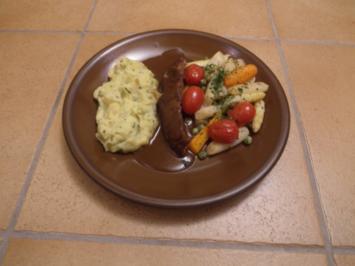 Rindersteak nach Gutsherrenart mit Bördegemüse und Kartoffelstampf - Rezept