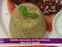 Gefüllte Aubergine mit Hackfleisch, Reis und Tsatsiki (Mustafa Alin) - Rezept