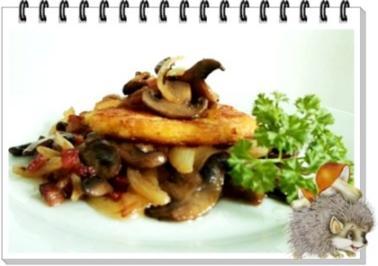 Kartoffelrösti mit gebratenen Champignons - Rezept