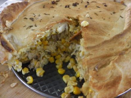 Herzhafter Hühnchen-Kichererbsen-Kuchen - Rezept