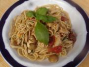 Spaghetti mit Tomaten-Champignon-Putengeschnetzelten - Rezept