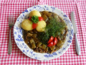 """Rezept: """"Oma - Friede`s"""" einfache """"Bornsche-Schmorgurken""""   (Rzpt. um 1948)"""