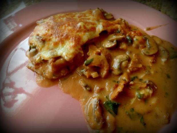 Schnitzel-Pilz-Käse-Pfännchen - Rezept