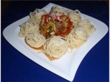 Hackfleisch-Gemüse-Pfanne mit Spaghetti - Rezept