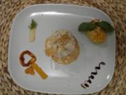 Kartoffelgratin mit Sojahack in Filoteig an brauner Soße, dreierlei Süßkartoffeln - Rezept