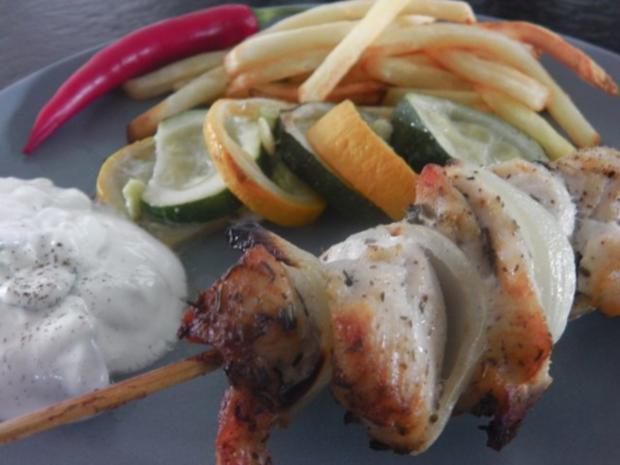 Gyros-Spieß vom Huhn mit Tzatziki und geröstetem Zucchini-Gemüse - Rezept - Bild Nr. 11