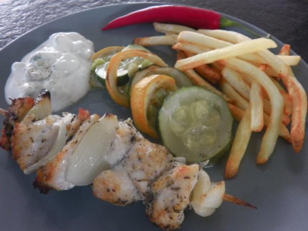 Gyros-Spieß vom Huhn mit Tzatziki und geröstetem Zucchini-Gemüse - Rezept - Bild Nr. 13