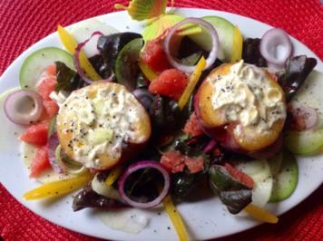 Gebackener Pfirsich auf Salat - Rezept