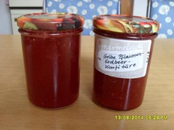 Gelbe Pflaumen-Erdbeer-Konfitüre - Rezept