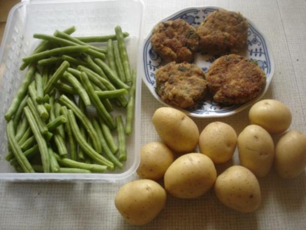 Pilzbuletten mit grünen Bohnen und Kartoffelstampf - Rezept - Bild Nr. 2
