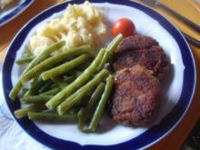 Pilzbuletten mit grünen Bohnen und Kartoffelstampf - Rezept