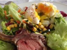 Lammcarré, Bunter Salat, Pochiertes Ei - Rezept