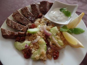 Rinderhüftsteaks mit Gurken-Couscous - Rezept