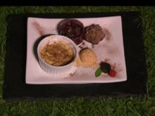Süß und Fruchtig: Frucht Crumble und Brownie an Eis - Rezept