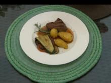 Marinierte Rinderfiletsteaks mit Grillgemüse und Schwenkkartoffeln - Rezept