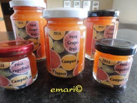 rosa Grapefruit - Campari - Ingwerjam - Rezept