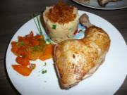 Toscana - Stampf, Hähnchenschenkel gegrillt und glasierte Karotten ! - Rezept