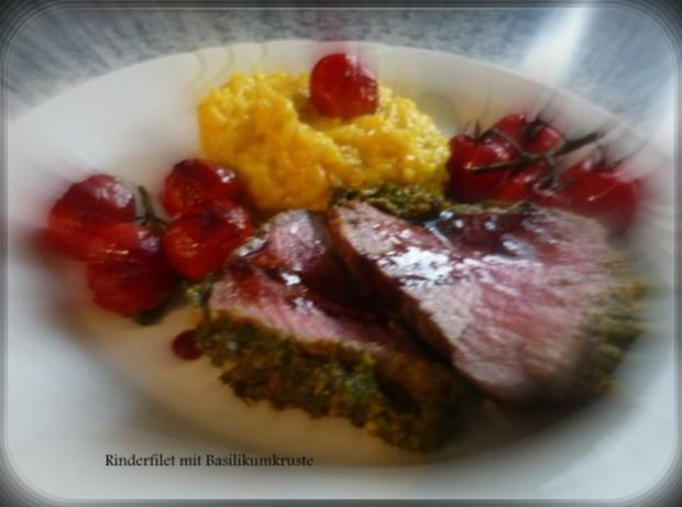 Rinderfilet mit Basilikumkruste,Safranrisotto und Balsamico-Tomaten - Rezept