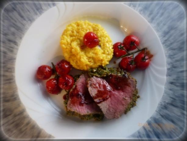 Rinderfilet mit Basilikumkruste,Safranrisotto und Balsamico-Tomaten - Rezept - Bild Nr. 8