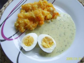 Rezept: Ohne Fleisch: Senf-Eier & Kartoffel-Möhren-Püree