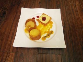 Rezept: Variationen von Passionsfrucht und Mango an Strudelteig
