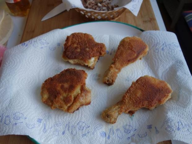 Hendlhaxn - Hühnerkeule paniert, garniert mit Parasolpilz - Rezept - Bild Nr. 10