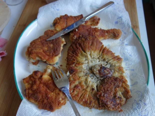 Hendlhaxn - Hühnerkeule paniert, garniert mit Parasolpilz - Rezept - Bild Nr. 12