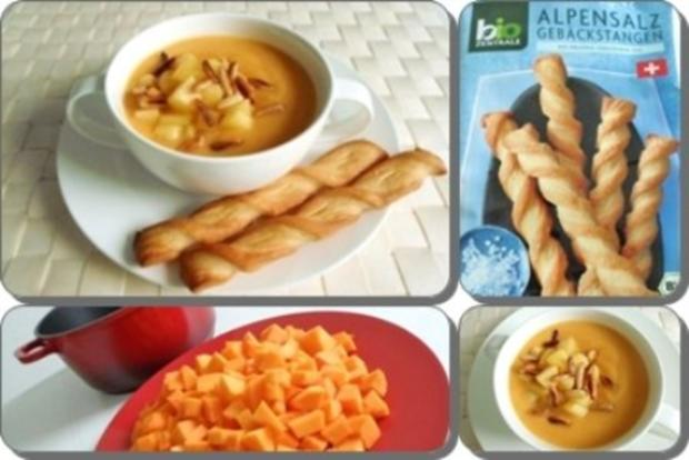 Butternut Kürbis Cremesuppe mit karamellisiertem Apfel, Pinienkernen und Gebäckstangen daz - Rezept - Bild Nr. 17