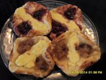 Blätterteig-Kopenhagener mit Pudding und Konfitüre - Rezept