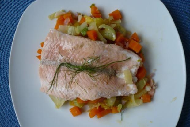 Lachs auf Möhren - Fenchel - Orangen -Gemüse - Rezept