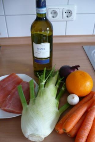 Lachs auf Möhren - Fenchel - Orangen -Gemüse - Rezept - Bild Nr. 2
