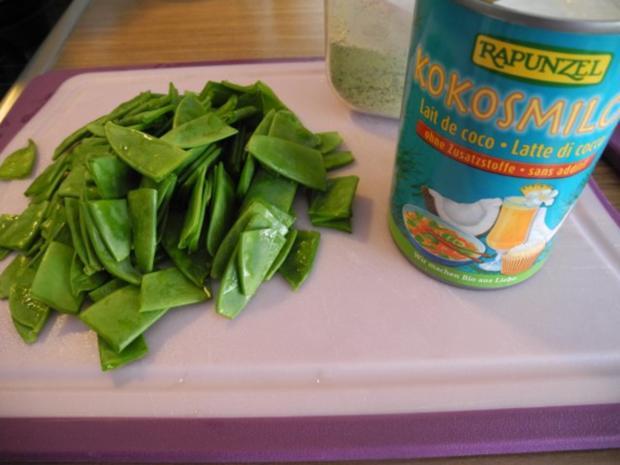 Schmorgurken an Kokosmilch mit Zuckerschoten dazu Kamut und Mandel - Tofu - Rezept - Bild Nr. 9