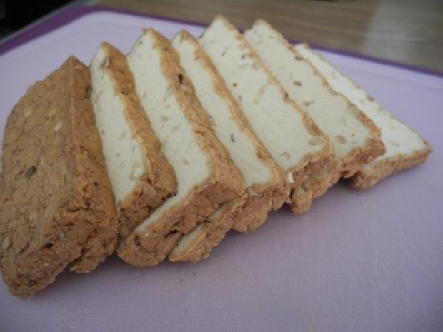 Schmorgurken an Kokosmilch mit Zuckerschoten dazu Kamut und Mandel - Tofu - Rezept - Bild Nr. 18