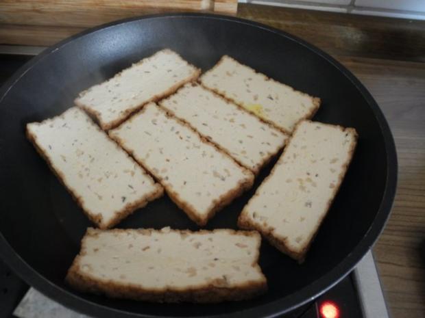 Schmorgurken an Kokosmilch mit Zuckerschoten dazu Kamut und Mandel - Tofu - Rezept - Bild Nr. 19