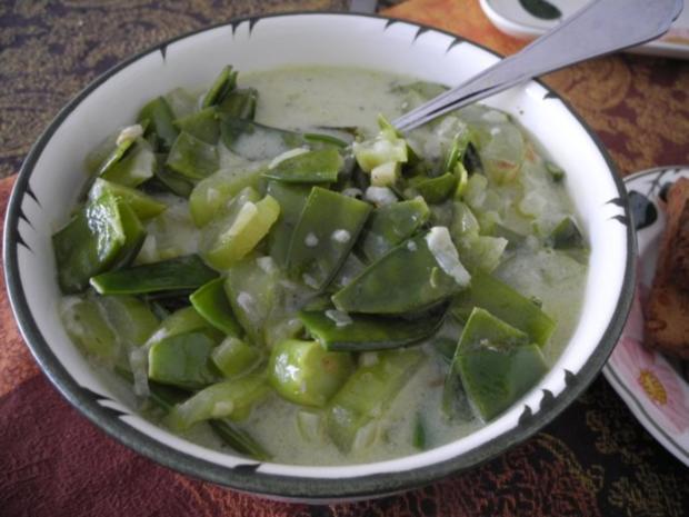 Schmorgurken an Kokosmilch mit Zuckerschoten dazu Kamut und Mandel - Tofu - Rezept - Bild Nr. 12